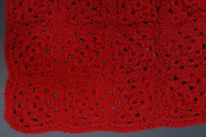 New wine red 28 x 40-inch hand-crocheted afghan blanket