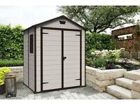 Keter Manor Outdoor Plastic Garden Storage Shed, 6 x 5 feet FREE DELIVERY + ASSEMBLY