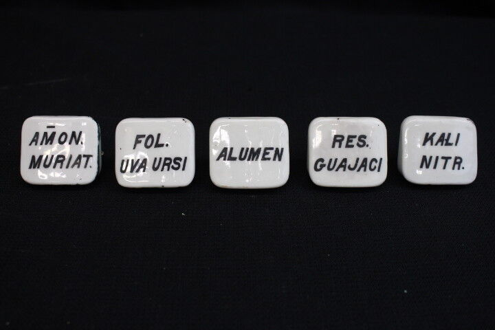 5 Antique White Porcelain Apothecary Drug General Store Labeled Drawer Pulls (B)