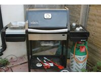 Weber Gas BBQ Twin Burner Complete with cover, gas bottle, regulator and spares