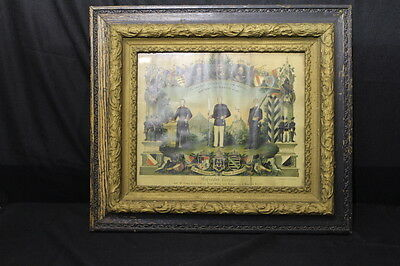 Rare Framed German Remembrance of Service Certificate, Early 20th Century