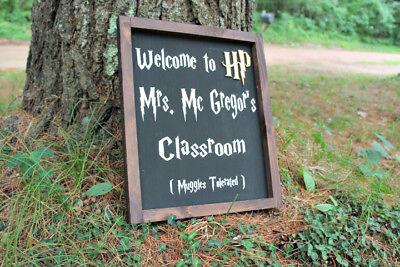 Harry Potter Themed Framed Teacher's name sign, classroom decor, Teacher gift - Classroom Decoration Themes