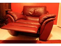 Burgundy leather recliner chair, DeCoro
