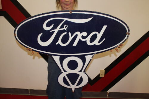 "Large 24/"" x 19 3//4/"" Ford Motors Licensed Vintage Retro Style Metal Shield Sign"