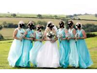 Six stunning bridesmaid dresses, in two different shades of mint/green, in good condition
