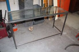INDUSTRIAL RETRO GLASS TOPPED TABLE