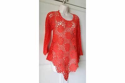 Boston Proper Bp Crochet Tunic Sweater  Orange Nwt Msp  98