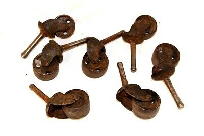 Antique Metal Caster Wheels Lot Of 7