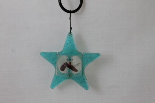 Vintage Blue Glitter Plastic Spinning Spinner Star Twinkler Christmas Ornament