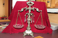 VINTAGE L L WMC 9137 SCALES OF JUSTICE CRYSTAL/ BRASS/ MARBLE