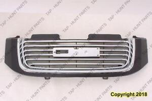 Grille Chrome/Black With Black Frame Without Head Lamp Washer Hole GMC Envoy 2002-2009