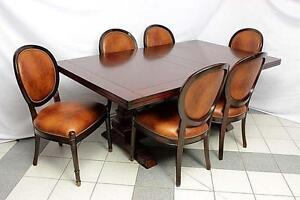 Trestle Table with 6 Wood and Leather Chairs