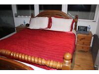 King Size Bed frame Solid Wood - complete with 4 month old mattress and 2 x Side drawers