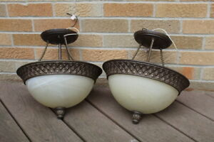 SET OF TWO INDOOR HANGING LAMPS/LIGHT FIXTURES FOR $10
