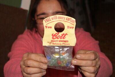 Original Vintage 1950's Cott Soda Pop Glass Marbles Unopened Toy Sign