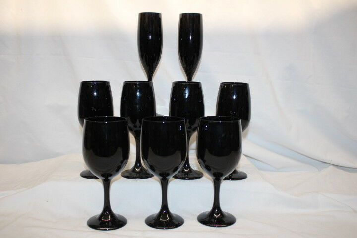 """9pc Vintage BLACK AMETHYST 7"""" Red & White Wine Glasses and 9"""" Champagne Flutes"""