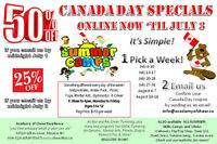 50% off SUMMER CAMPS! Cheer,Gymnastics,MartialArts,Yoga,NatureWa