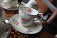 """Grindley Cream Petal """"Devonshire Rose"""" Cup & Saucer set of five"""