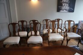 Queen Anne style walnut dining chairs, 20th C,