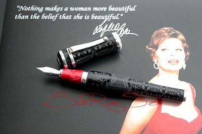 MONTEGRAPPA SOPHIA LOREN FOUNTAIN PEN 18kt. Feather Limited Edition Sealed