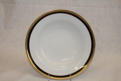 "Vintage Richard Ginori Palermo Black 8 3/8"" Rim Soup Bowl Gold Encrusted; Mint"