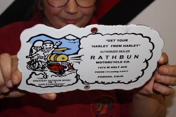 Rathbun Harley Davidson Motorcycle Dealer Gas Oil Porcelain Metal Sign - $9.95