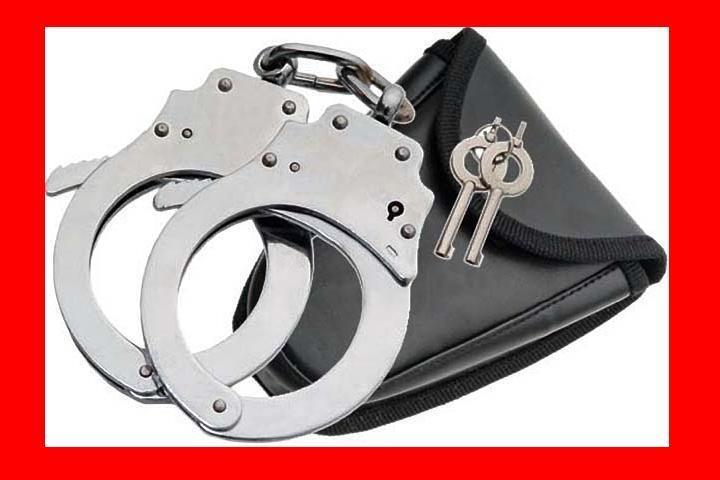 Nickel HAND Handcuffs POLICE CUFFS Double Locking + CASE + 2 Keys Hand Cuffs