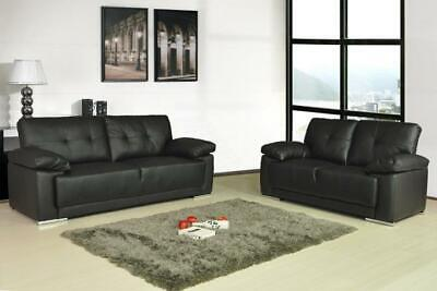 Sienna 3+2+1 SEATER LEATHER SOFAS BLACK BROWN CREAM  SOFA SET