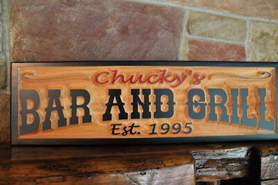 Personalized Custom Carved Wood Sign Rustic Home Bar Decor Pub Man Cave Signs