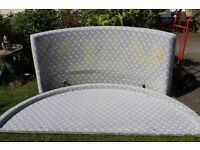 LARGE ROUND 7FT ITALIAN DESINER BED, AND CURVED HEADBOARD, WITH NEW MATTRESS