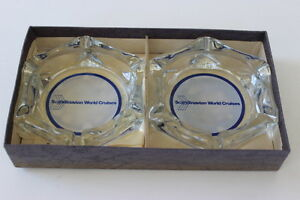 Vintage-2-Scandanavian-World-Cruises-Clear-Glass-Hexagon-Ashtrays-6-Rests-NIB