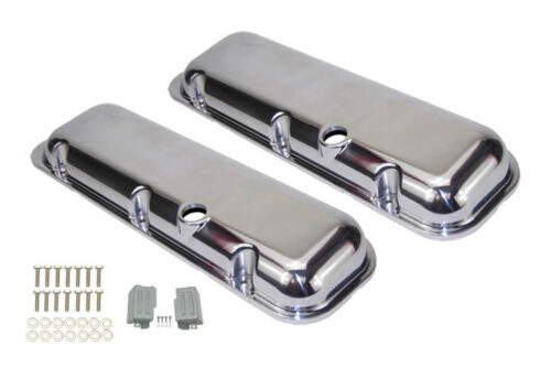 Smooth-Polish-Big-Block-Chevy-Short-Valve-Cover-Set-454-396-502-Chevrolet-plian