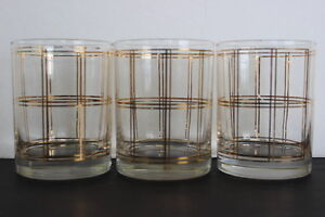 Vintage-Georges-Briard-Set-of-3-Window-Pane-Pattern-Drinking-Glass-22KT-Gold