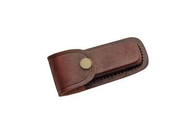 """FOLDING POCKET KNIFE SHEATH   4"""" Brown Genuine Leather Belt Case"""