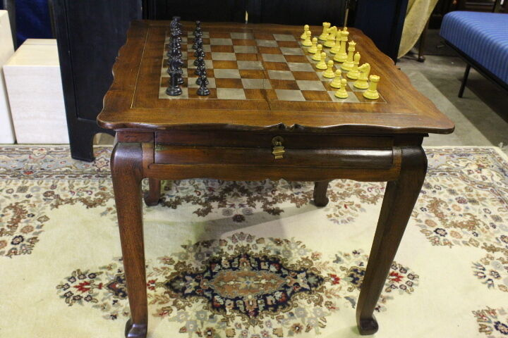 Circa 1900 Solid Mahogany Asian Game Table with Complete Drueke Chess Set