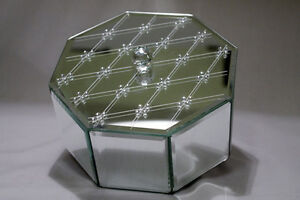 Glass Octagon Box and Flowered Glass Tray/Perfume Bottles