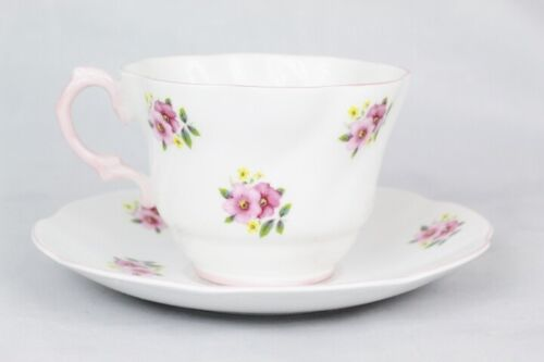 Rosina Teacup and Saucer Set Bone China Pink Flowers Made in England