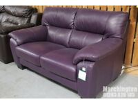 """DFS """"RHYTHM"""" Purple Real Leather Sofa 2 Seater Brand New with tag"""