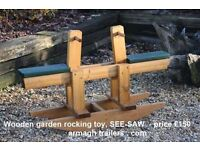 WOODEN KIDS GARDEN TOYS SEE-SAW WISHING WELLS & ROCKING HORSES BENCHES PICNIC TABLES FURNITURE