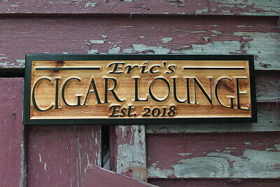 Cigar Lounge Personalized Custom Carved Wood Sign Rustic Plaque Bar Signs Pub  Lounge Wood Sign