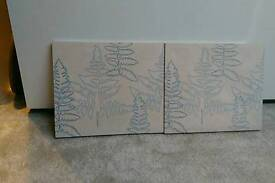 Pair of Wall Canvas Pictures White with Blue