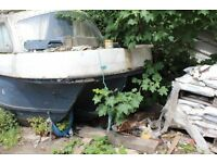 FREE TO GOOD HOME, FIBRE GLASS FISHING/SAILING BOAT AT HORBURY BRIDGE