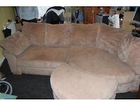 Left Arm Corner Sofa with pouff