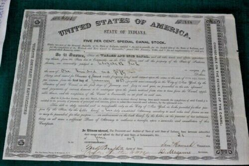 #J203,Wabash & Erie Canal Vintage Stock ,Indiana 1847