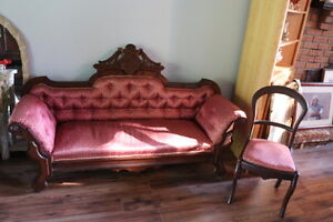 ANTIQUE SOFA AND SIDECHAIR