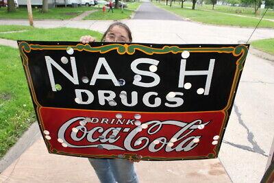 """Large Coca Cola Nash Drugs Soda Pop Gas Oil 45"""" Porcelain Metal Neon Skin Sign"""