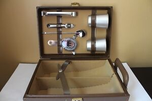 VINTAGE (1950) MINI BAR CUIR WORLD CHENEY ENGLAND STAINLESS