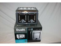 Boxed Dualit Architect 4-slot toaster in polished stainless steel with dark grey trim . Used once