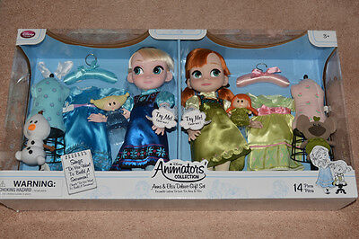 Disney Singing Frozen Animators Deluxe Doll Gift Set Anna and Elsa NEW!