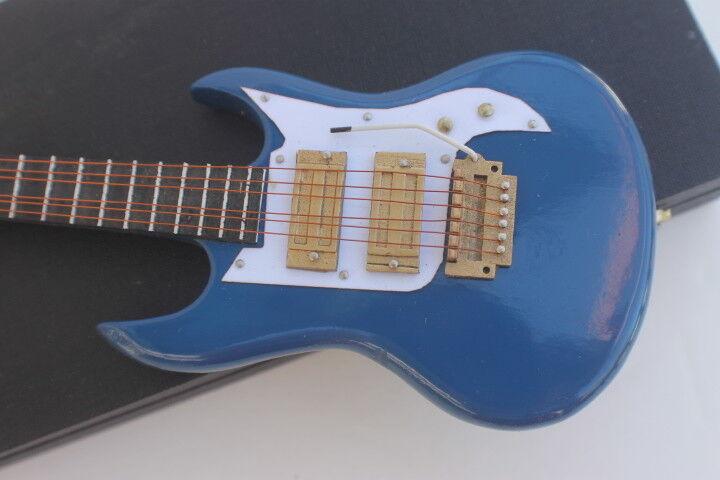 "Lovvbugg WOOD Blue Electric Mini Guitar 8.5 for 18"" American Girl or Boy Tenney Doll Accessory"